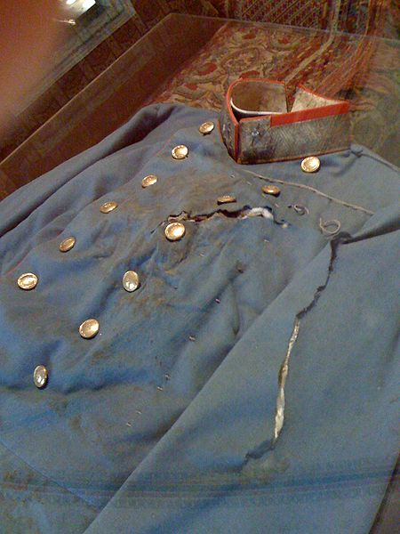 Bloodied shirt 100 years later of Arch Duke Franz Ferdinand.